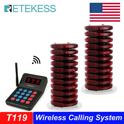 999CH Restaurant Wireless Paging Queuing System 1xTransmitter+20xCoaster Pagers
