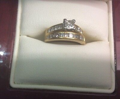 Bridal set. Engagement ring & wedding band 18ct gold over 1ct diamonds