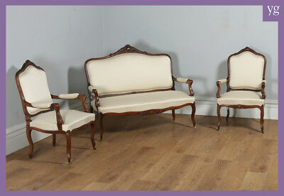 Antique French Louis Style Walnut Three Piece Suite Sofa Couch Armchairs c.1860
