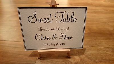 A4/A5 Personalised Sweet Table Wedding Sign