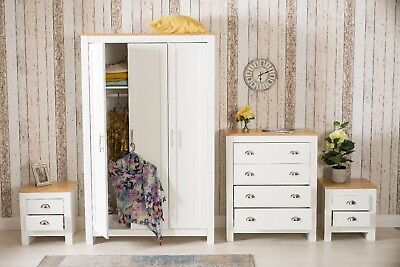 Three Or Four Piece Furniture Set 2/3 Door Wardrobe Beside Table Drawer Chest
