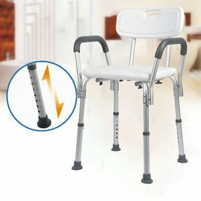 Adjustable Sturdy Aluminium Shower Stool Seat Bathroom Aid Chair Armrest Back HK