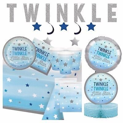 TWINKLE LITTLE STAR BLUE -Baby Shower Party Supplies,Games,Tableware,Decorations