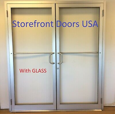 COMMERCIAL Butt Hinge 6'0 X 7'0 CLEAR PAIR STOREFRONT DOOR, FRAME AND CLOSER