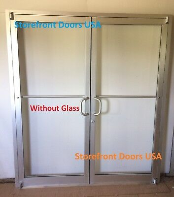 Commercial Storefront Door, Frame & Closer 6'0 X 7'0 Pair, Clear Finish