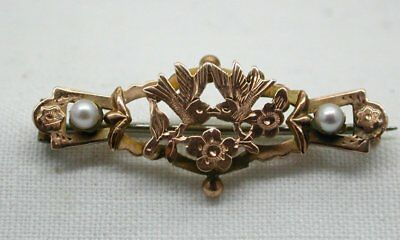Antique Lovely 9 Carat Rose Gold And Pearl Brooch