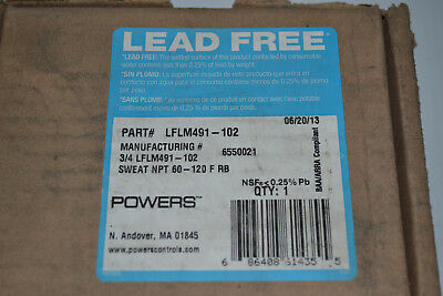 "NEW Powers Hydroguard 3/4"" Thermostatic Tempering Valve LFLM490-102, Sweat Union"