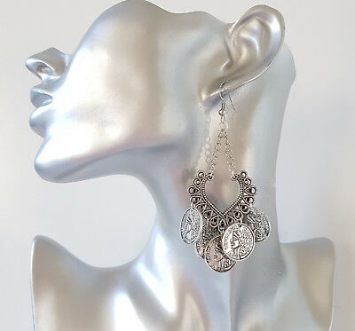 Gorgeous 8cm long antique silver tone chandelier coin drop earrings -Boho ethnic
