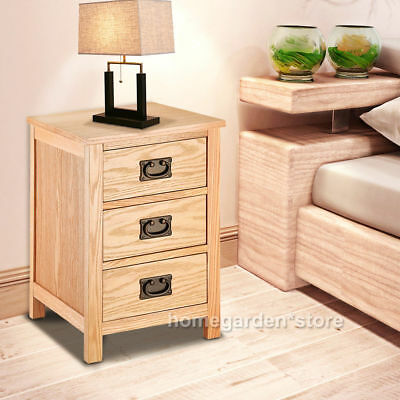 Panana Wooden Bedside Table Nightstand Chest Of 3 Drawers Bedroom Furniture UK
