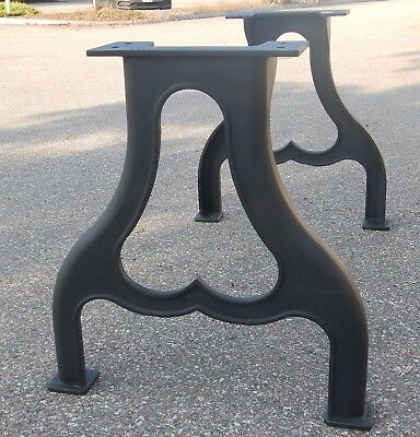 Heart Shaped Black Cast Iron Table Legs, Industrial Steampunk Style