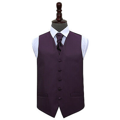 DQT Greek Key Patterned Cadbury Purple Mens Wedding Waistcoat & Cravat Free Pin