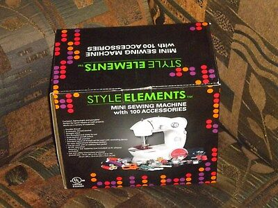 Mini Sewing Machine With 100 Accessories, 2 Speeds, Style Elements, New~In~Box!!
