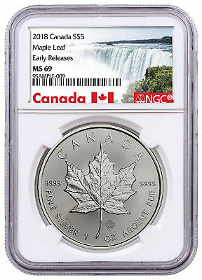 2018 Canada 1 oz Silver Maple Leaf $5 Coin NGC MS69 ER Excl PRESALE SKU50995