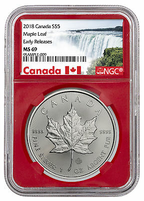 2018 Canada 1 oz Silver Maple Leaf $5 Coin NGC MS69 ER Red Core PRESALE SKU50996