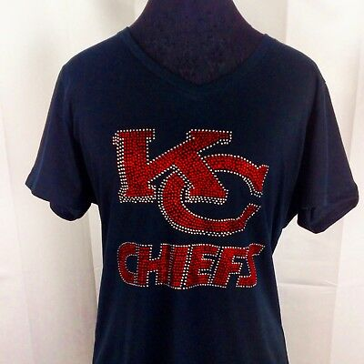 Women's Kansas City Chiefs Rhinestone Football V-neck T-Shirt Tee Bling Lady