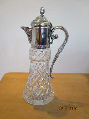 Vintage cut glass decanter claret jug with silver plate spout handle