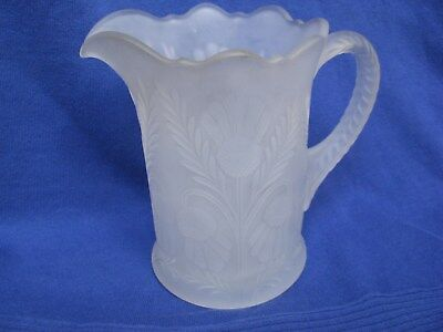 Mosser Inverted Thistle L Water Milk Pitcher White Frosted Clear Glass Signed M