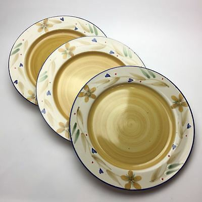 "3 Pier 1 Merida Dinner Plates 11"" Floral Stoneware Discontinued"