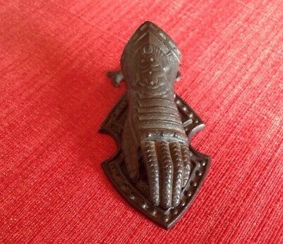 Vintage Cast Iron Figural Clamp Letter Holder Knight's Gloved Hand & Shield USA