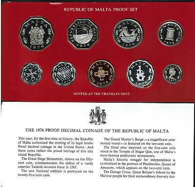 Central Bank Of Malta 9-Coin Proof Set 1976 In Case