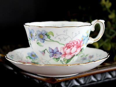 Crown Staffordshire, Teacup and Saucer, Mixed Floral Tea Cup, Made in England