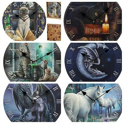 Stunning Lisa Parker Picture Wall Clocks-New-Owl/unicorn/cat/wolf/fairy/angel