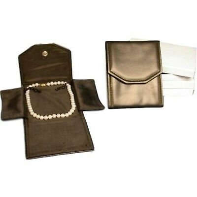 3 Black Leather Necklace Jewelry Travel Folder Display Cases