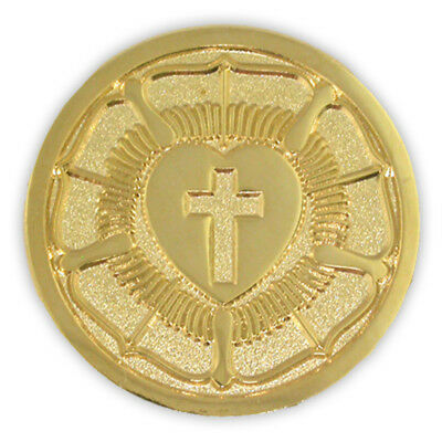 PinMart's Gold Plated Lutheran Seal Luther Rose Religious Lapel Pin