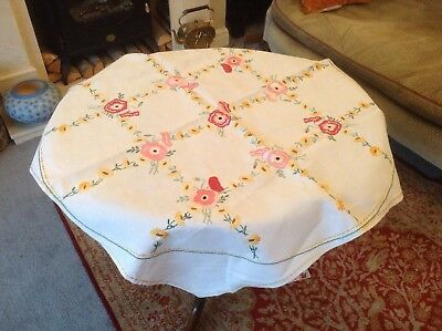 VINTAGE HAND EMBROIDERED  Garden Flowers LINEN TABLECLOTH
