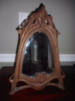 Superb Huge Art Nouveau Bronzed Cast Iron Lady Face & Water Lily Table Mirror