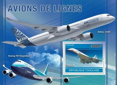 Air France CONCORDE / Airbus A350 / Boeing 787 Aircraft Stamp Sheet (2010 Togo)