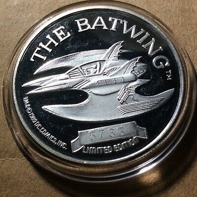 Batman Batwing 50Th Anniversary Dc Comic 1989 Vintage 999 Silver Coin #5735