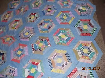 Large Antique HAND STITCHED Quilt Top with 1 Straight Edge UNIQUE