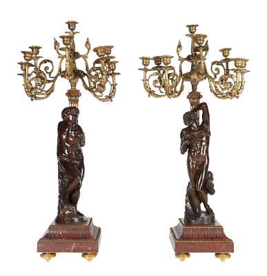 Ferdinand Barbedienne Large Pair of French Gilt and Patinated Bronze Candelabra