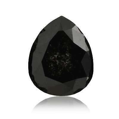 1.94 Carat Fancy Black Diamond Loose Pear Cut Natural Color GIA Certified Rare