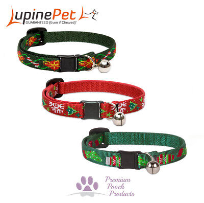 Lupine XMAS Cat Collar 12mm wide Bell and Safety Release Buckle - 3 patterns