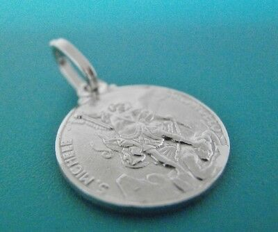 Sterling Silver 925 St Michael Archangel Medal Pendant Round Pendant 14mm