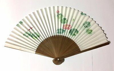 Japanese Folding Fan SENSU Carp of a Pond White JAPAN Japanese Tradition import