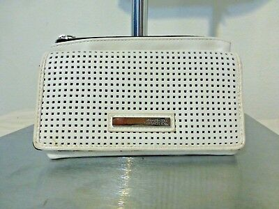 Kenneth Cole Reaction White Textured Womens Clasp Wallet w Zipper & multi pocket