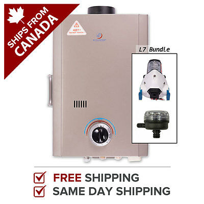 Tankless Water Heater Propane Instant Hot Anywhere Eccotemp L7 Pump & Strainer