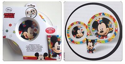 1 x Disney Mickey Mouse 3pce Plate Bowl & Cup Set Microwave Safe BN