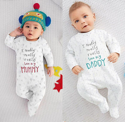 US Toddler Baby Boy Girl Casual Cotton Romper Jumpsuit Sleepsuit Outfits Monhyu