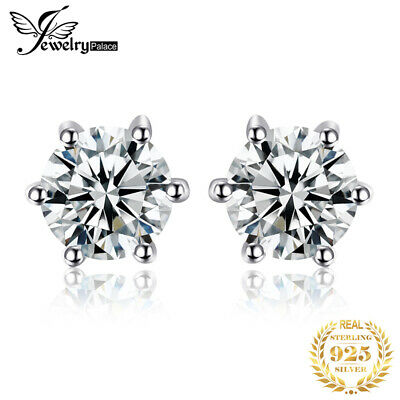 JewelryPalace Women Natural White Topaz Earrings Stud Solid 925 Sterling Silver