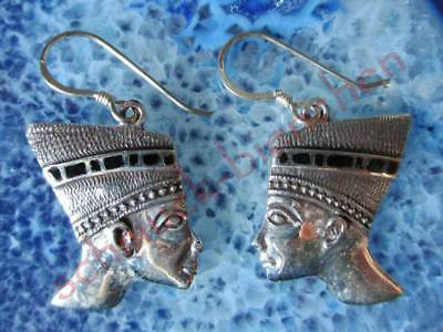 Earring Egypt Head of the Nofretete Egyptian Pharao Onyx Sterling Silver 925