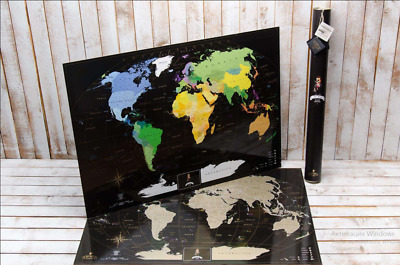Deluxe Gift Scratch Off World Map Large Detailed Silver Poster Travel Present