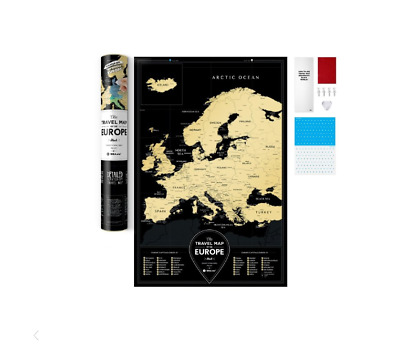 Black Scratch Off Travel Map Detailed Europe Map Push Pin Poster Scratch Card