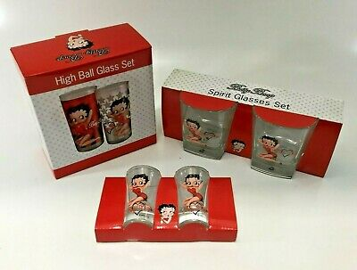 Betty Boop Bedazzled Spirit Glasses , Shot Glasses , Hi Ball Drinking Cups Pack