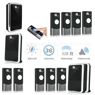 1byone Wireless Doorbell Chime Remote 36 Melody 328ft LED Indicator Waterproof