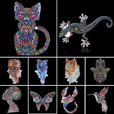 Womens Printing Flower Animal Owl Butterfly Cat Brooch Pin Custume Jewellery New