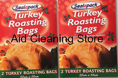 2 X 2 ROASTING BAGS 52cm x 58cm FOR COOKING MEAT & TURKEY IN OVEN OR MICROWAVE